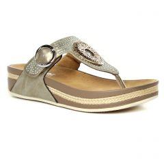 sandales-compensees marron taupe: même style de chaussures en ligne pour femmes que les Rieker