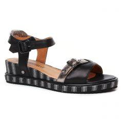 Chaussures femme été 2020 - sandales compensées Mamzelle noir argent
