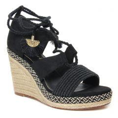 Chaussures femme été 2020 - espadrilles compensées tamaris noir