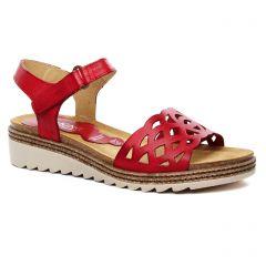 Chaussures femme été 2020 - sandales compensées Dorking rouge