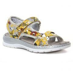 Chaussures femme été 2020 - sandales rieker jaune multi