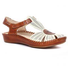 Chaussures femme été 2020 - sandales Pikolinos marron blanc