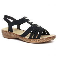 Rieker V1461 00 Noir | sandales noir printemps été chez