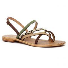 sandales vert marron: même style de chaussures en ligne pour femmes que les Les Tropéziennes