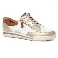 tennis blanc doré: même style de chaussures en ligne pour femmes que les Tamaris