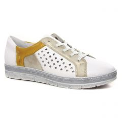 Chaussures femme été 2020 - tennis Remonte blanc jaune