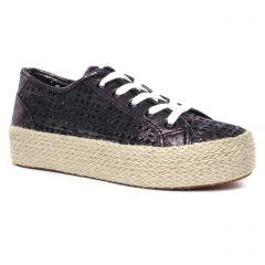 tennis-plateforme noir argent: même style de chaussures en ligne pour femmes que les Tamaris