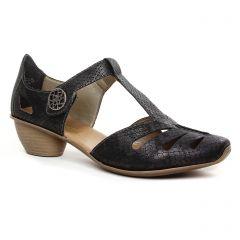 Chaussures femme été 2020 - trotteurs-babies rieker gris noir
