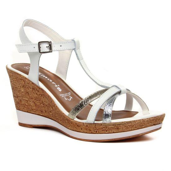 Nu Pieds Et Sandales Tamaris 28347 White Comb, vue principale de la chaussure femme