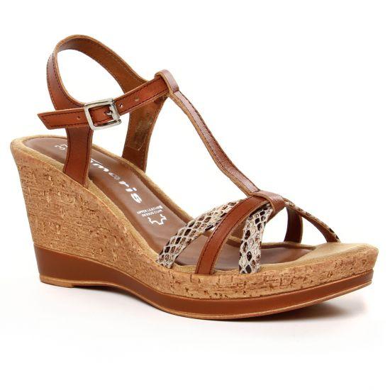 Nu Pieds Et Sandales Tamaris 28347 Cognac Snake, vue principale de la chaussure femme