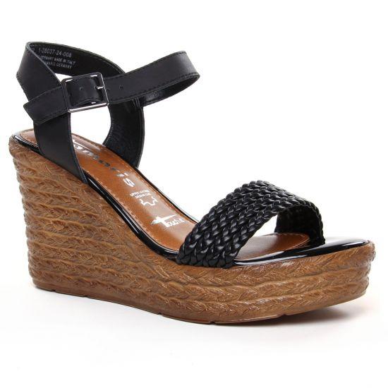 Nu Pieds Et Sandales Tamaris 28037 Black Lea Uni, vue principale de la chaussure femme