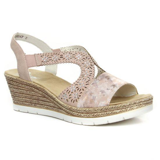 Nu Pieds Et Sandales Rieker 61916-31 Rafia Rosa, vue principale de la chaussure femme