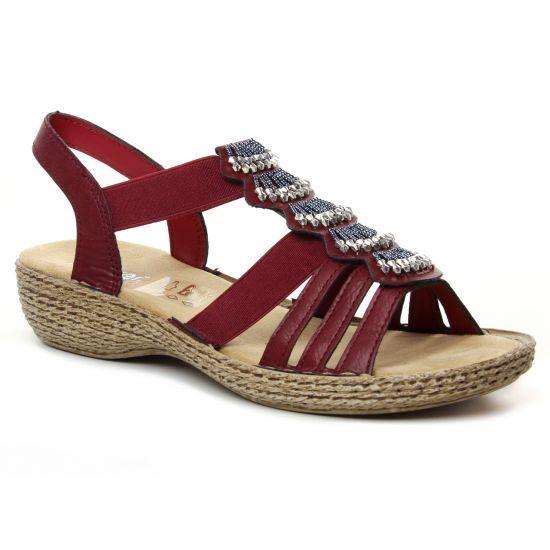Nu Pieds Et Sandales Rieker 65869-35 Wine, vue principale de la chaussure femme