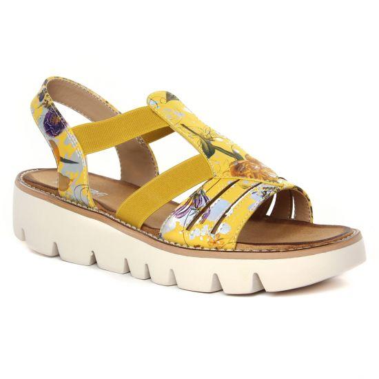 Nu Pieds Et Sandales Rieker V7371-91 Yellow, vue principale de la chaussure femme