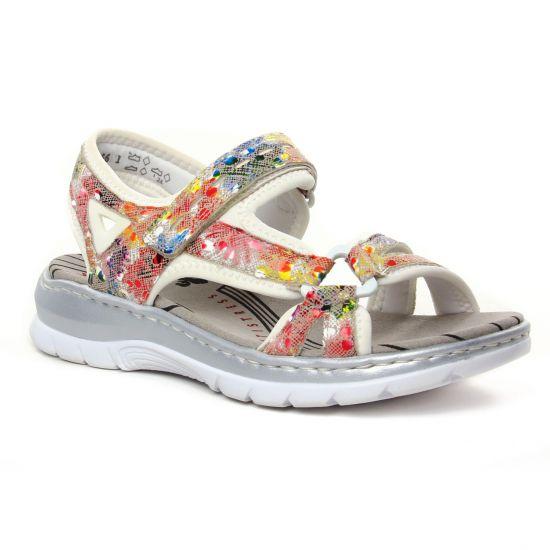 Nu Pieds Et Sandales Rieker 66979-92 Ginger Multi, vue principale de la chaussure femme