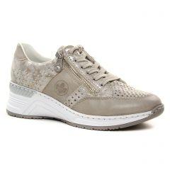 baskets-compensees beige taupe: même style de chaussures en ligne pour femmes que les Rieker