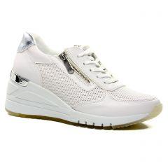 Chaussures femme été 2021 - baskets compensees marco tozzi blanc argent
