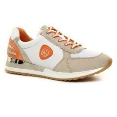 baskets-mode blanc orange: même style de chaussures en ligne pour femmes que les Remonte