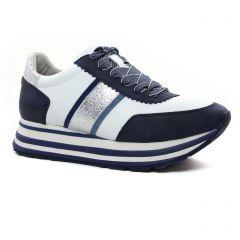 Chaussures femme été 2021 - baskets plateforme tamaris blanc bleu