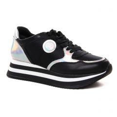 Chaussures femme été 2021 - baskets plateforme tamaris noir argent