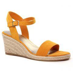 Chaussures femme été 2021 - espadrilles compensées tamaris jaune orangé