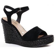 Chaussures femme été 2021 - nu-pieds compensés tamaris noir