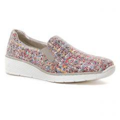 Chaussures femme été 2021 - Mocassins Slippers rieker multicolore