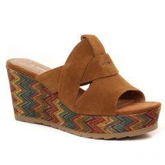 Chaussures femme été 2021 - mules compensées marco tozzi marron multi