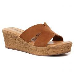 Chaussures femme été 2021 - mules compensées tamaris marron