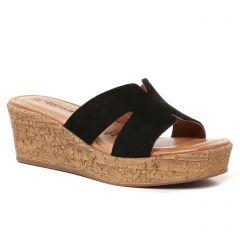 Chaussures femme été 2021 - mules compensées tamaris noir
