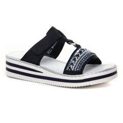 Chaussures femme été 2021 - mules compensées rieker marine blanc
