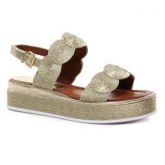 Chaussures femme été 2021 - sandales compensées marco tozzi beige doré