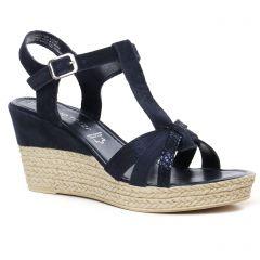 Chaussures femme été 2021 - nu-pieds compensés marco tozzi bleu marine