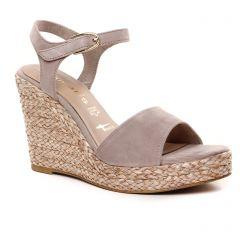 nu-pieds-talons-compenses gris rose: même style de chaussures en ligne pour femmes que les Tamaris