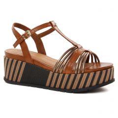 Chaussures femme été 2021 - nu-pieds compensés marco tozzi marron