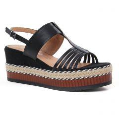 Chaussures femme été 2021 - nu-pieds compensés marco tozzi noir