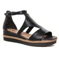 nu-pieds-talons-compenses noir: même style de chaussures en ligne pour femmes que les Tamaris