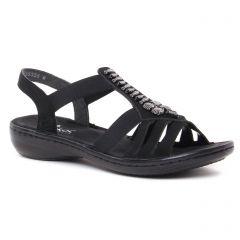 Chaussures femme été 2021 - sandales rieker noir