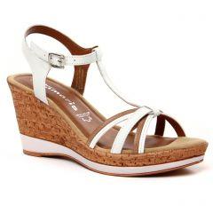 Chaussures femme été 2021 - nu-pieds semelle liège tamaris blanc