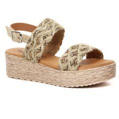 Chaussures femme été 2021 - espadrilles compensées Eva Frutos beige multi