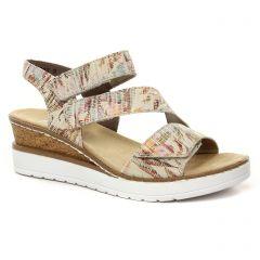 Chaussures femme été 2021 - sandales compensées rieker beige multi
