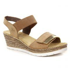 Chaussures femme été 2021 - sandales compensées rieker beige