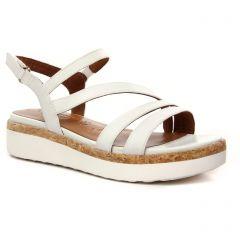 Chaussures femme été 2021 - sandales compensées tamaris blanc