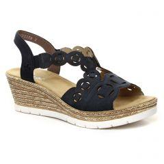 sandales-compensees bleu marine: même style de chaussures en ligne pour femmes que les Caprice