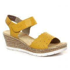 Chaussures femme été 2021 - sandales compensées rieker jaune