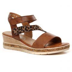 Chaussures femme été 2021 - nu-pieds compensés Remonte marron
