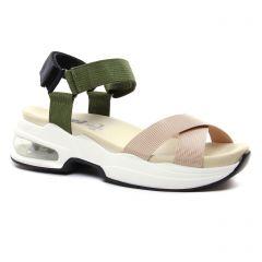 Chaussures femme été 2021 - sandales compensées Xti beige vert