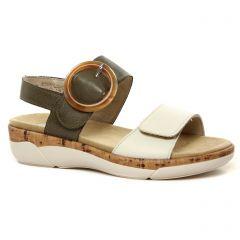 sandales-compensees vert blanc: même style de chaussures en ligne pour femmes que les Tamaris