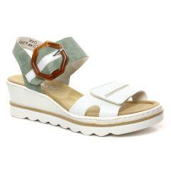 sandales-compensees vert blanc: même style de chaussures en ligne pour femmes que les Rieker