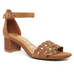 Chaussures femme été 2021 - nu-pieds talon tamaris marron